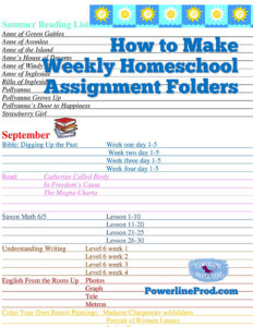 How to Make Weekly Homeschool Assignment Folders